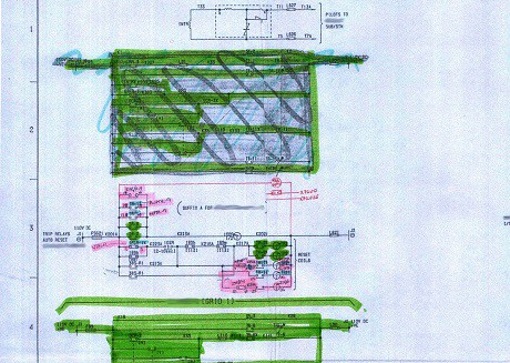 Hand marked-up substation drawing prior to redraw